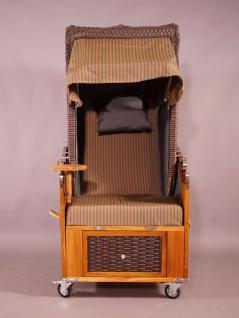 Strandkorb Kampen Mocca Duo (hell) Single 1-Sitzer beige-grau gestreift, Seitenteile grau - Vorschau 2