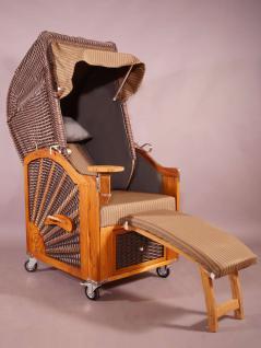 Strandkorb Kampen Mocca Duo (hell) Single 1-Sitzer beige-grau gestreift, Seitenteile grau