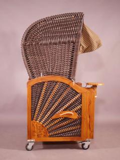 Strandkorb Kampen Mocca Duo (hell) Single 1-Sitzer beige-grau gestreift, Seitenteile grau - Vorschau 3