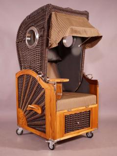 strandkorb kampen spezial mocca single mit bullaugen beige grau gestreift seitenteile grau. Black Bedroom Furniture Sets. Home Design Ideas