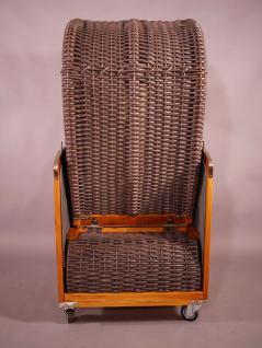 Strandkorb Kampen Mocca Duo (hell) Single 1-Sitzer beige-grau gestreift, Seitenteile grau - Vorschau 4