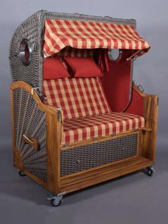 strandkorb kampen spezial mocca duo 2 5 sitzer rot beige kariert mit bullaugen kaufen bei. Black Bedroom Furniture Sets. Home Design Ideas