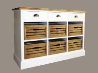 Kommode Touraine niedrig Landhaus Stil Holz 9 Schubladen Vintage Look weiß