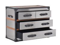 Kommode Stonyhurst HALO Aluminium Vintage Leder 4 Schubladen