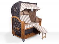 Strandkorb Kampen Spezial Mocca 2, 5-Sitzer mit Bullaugen beige-weiße Blockstreifen