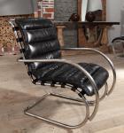 Freischwinger-Sessel Brisbane Vintage-Leder Stahlrohr