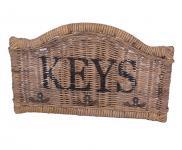 Schlüsselboard Keys halbrund Rattan Schlüsselhalter Naturrattan Schlüsselhaken Haken