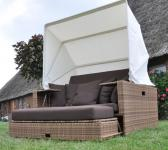 Liegeinsel Beach Lounge Mixed Beige Flachgeflecht