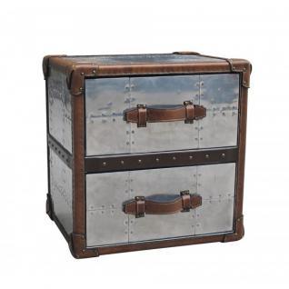 Schubladenschrank TomCat 2 Aluminium Vintage-Leder