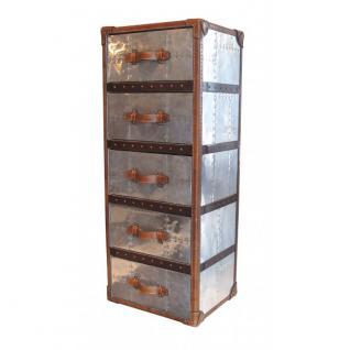 Schubladenschrank TomCat 5 Aluminium Vintage-Leder