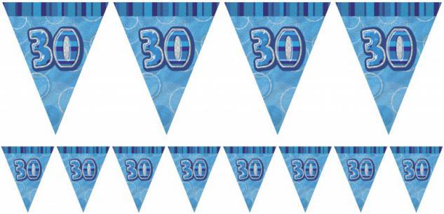 30. Geburtstag Wimpel Girlande Blau