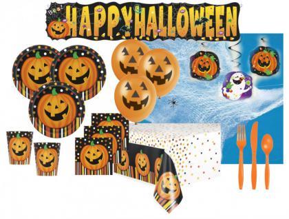 XXL 84 Teile Halloween Party Set Lachender Kürbis für 8 Personen