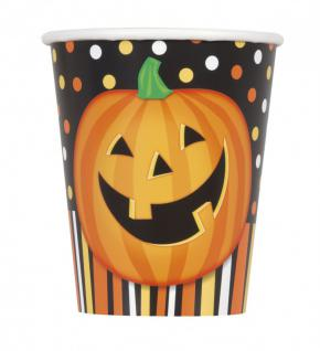 8 Halloween Becher lachender Kürbis