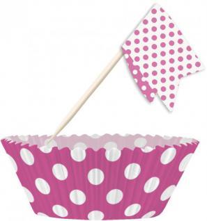 Muffin Förmchen Set Pink Weiße Punkte