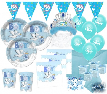 XXL 69 Teile Baby Shower Deko Set Storch Hellblau 16 Personen