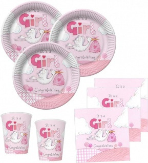 NEU 48 Teile Baby Shower Deko Set Rosa Storch 16 Personen