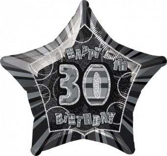 30. Geburtstag Glitzer Folien Ballon Schwarz