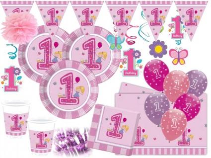 XXL Erster Geburtstag Mädchen Rosa Party Deko Set 16 Personen