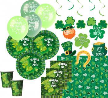 XXL 52 Teile St. Patricks Day Deko Set grüner Hut 8 Personen
