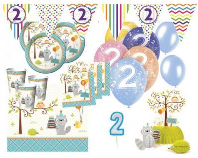 XXL 65 Teile 2. Geburtstag Kleiner Waschbär Blau Party Set 16 Personen