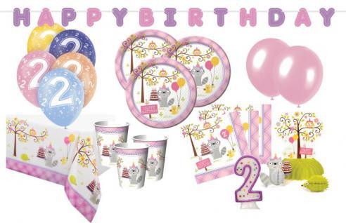XXL 65 Teile 2. Geburtstag Kleiner Waschbär Rosa Party Set 16 Personen