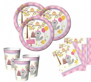 48 Teile Kleiner Waschbär Rosa Basis Party Deko Set für 16 Personen