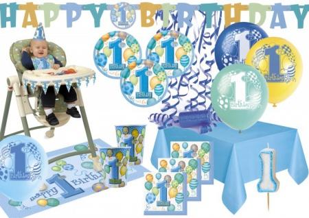 XXL Party Deko Set zum 1. Geburtstag Blau für 16 Personen