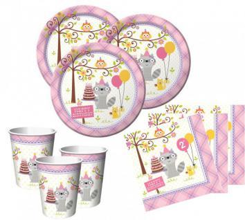 48 Teile 2. Geburtstag Kleiner Waschbär Rosa Party Set 16 Personen