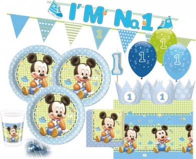 67 Teile Disney Baby Micky zum Ersten Geburtstag Party Deko Set 16 Personen 1. Geburtstag
