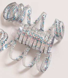 Glitzer Luftschlangen Silber