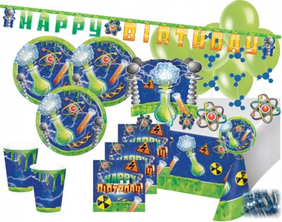 XXL 71 Teile Genious Geburtstags Party Deko Set 8 Personen - verrückter Professor, Labor