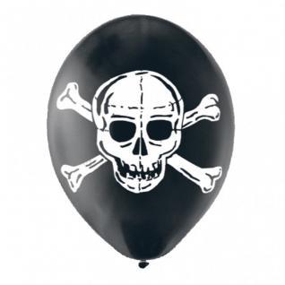 6 schwarze Totenkopf Ballons
