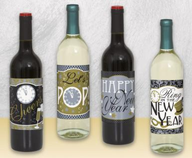 4 Weinflaschen Etiketten Happy New Year