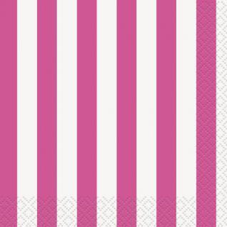 16 Servietten pinke Streifen