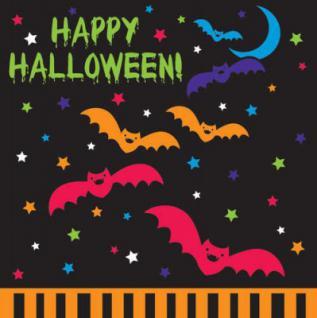 16 kleine Halloween Servietten Vampir + Fledermaus