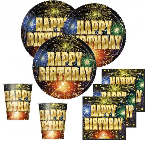 32 Teile Happy Birthday Feuerwerk Deko Set 8 Personen