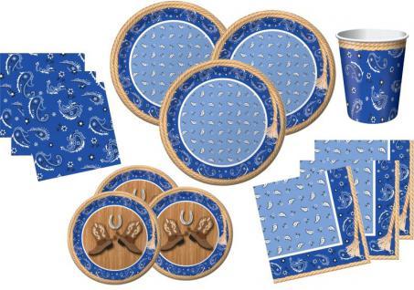 80 Teile Westernreiten Bandana Blau Party Deko Set für 16 Personen
