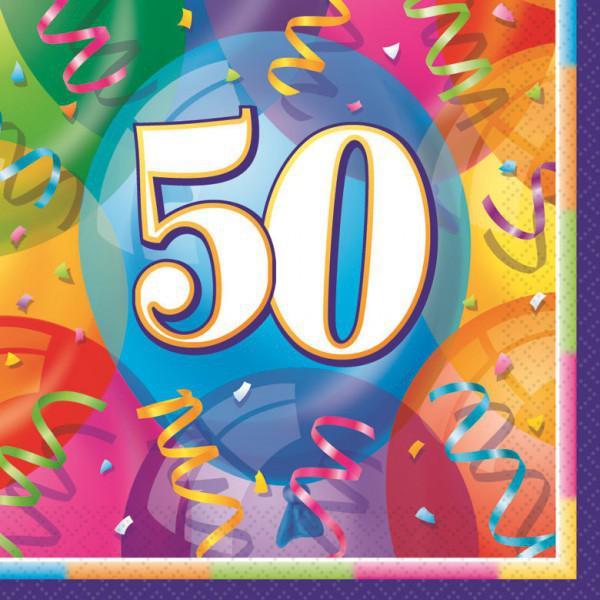 48 bunte Servietten zum 50. Geburtstag