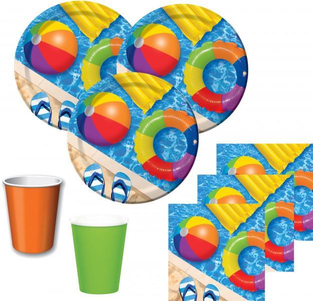 48 Teile Sommer Party Deko Set Wasser Spaß 16 Personen
