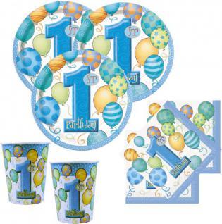 1. Geburtstag Deko Set blaue Ballons für 8 Personen