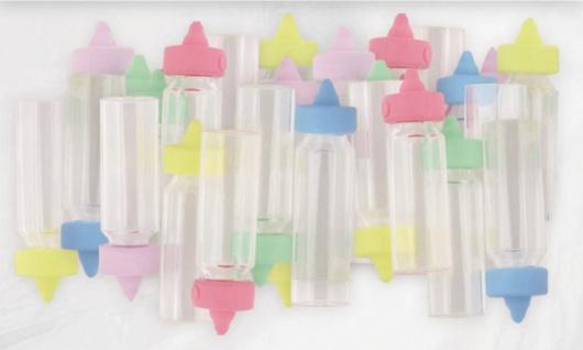 24 mini deko baby fl schchen pastell kaufen bei kids party world. Black Bedroom Furniture Sets. Home Design Ideas