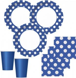 50 Teile Party Set Blau mit weißen Punkten für 16 Personen