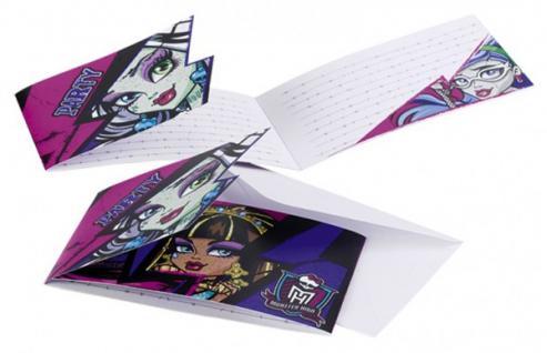 6 Einladungskarten Monster High 2