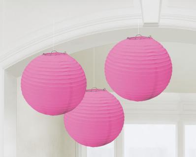 3 runde Deko Laternen Pink