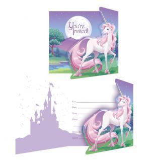 8 rosa Einhorn Einladungskarten
