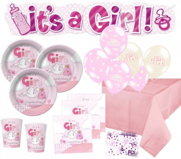 NEU 67 Teile Baby Shower Deko Set Rosa Storch 16 Personen