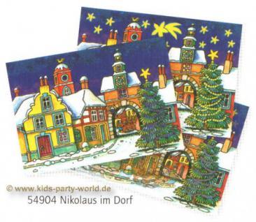 Wackelbild Postkarte Nikolaus im Dorf