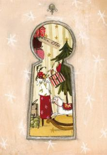 Weihnachtskarte Blick durchs Schlüsselloch
