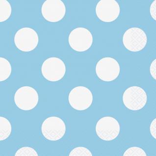 16 Servietten Hellblau mit Punkten