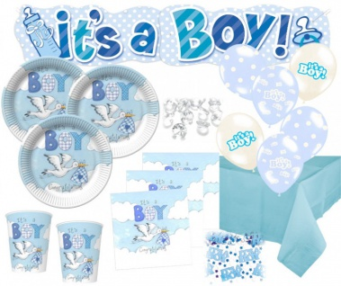 NEU 67 Teile Baby Shower Deko Set Storch Hellblau 16 Personen